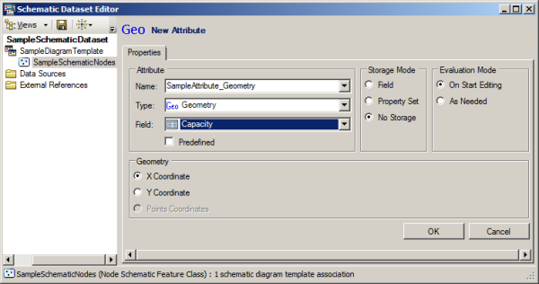 Configuring parameters for a Geometry schematic attribute