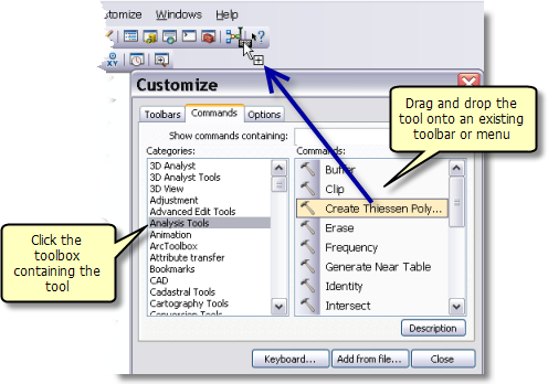 Adding and removing tools on menus and toolbars—Help | ArcGIS for