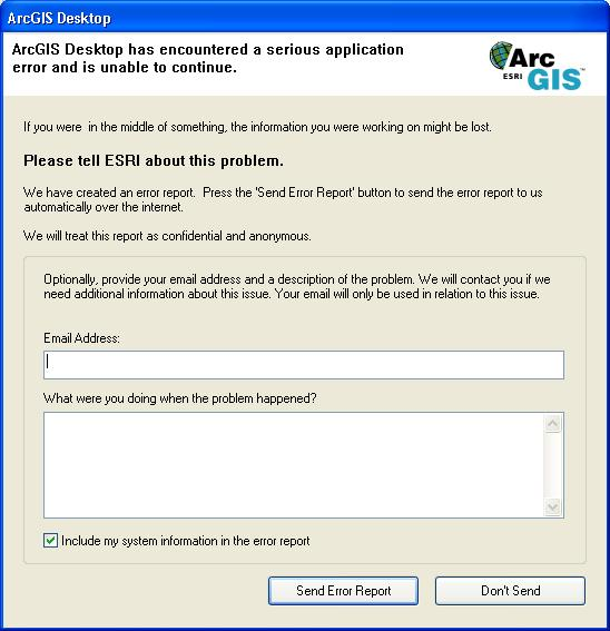 Error Reporting For Arcgis SoftwareHelp  Arcgis For Desktop