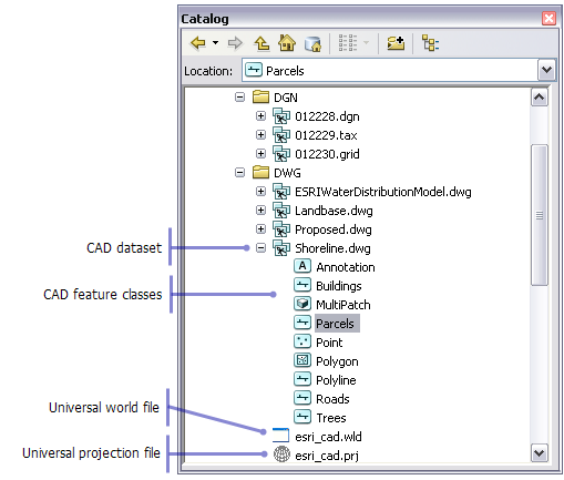 The Direct Read Cad Data Model Help Arcgis For Desktop