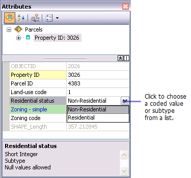 Editing attributes with subtypes and attribute domains—Help | ArcGIS