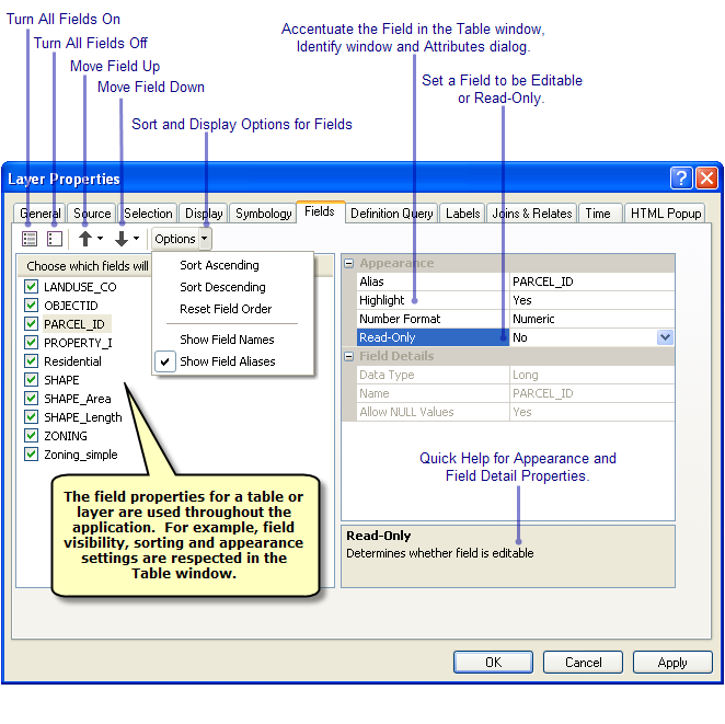 A quick tour of tables and attribute information help arcgis desktop - Attributes of table tag in html ...