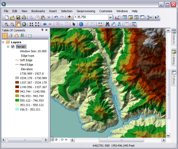 Displaying Terrain Datasets In ArcGISHelp ArcGIS For Desktop - Terrain elevation data
