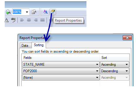 Sorting records in a report—Help | ArcGIS for Desktop