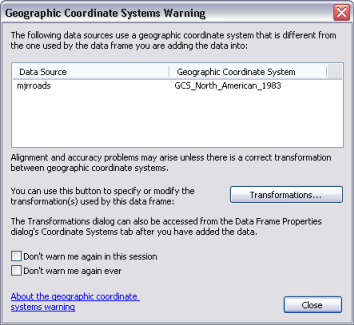 the geographic coordinate systems warning help arcgis for desktop