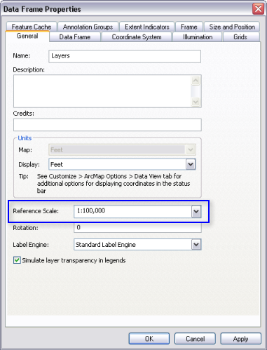 Working with data frame reference scales—Help | ArcGIS for