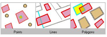 Ricerca di funzionalità che si intersecano con le funzionalità del poligono