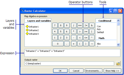 Raster Calculator Tool Dialog Box