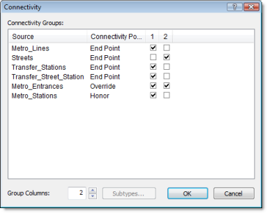 The settings for the Connectivity dialog box