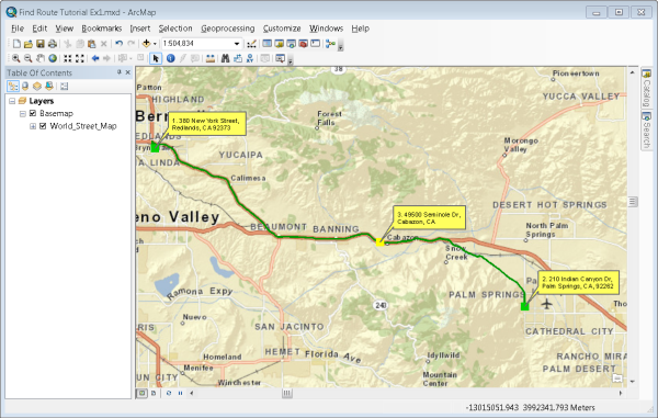 Exercise 1 finding a route using trip planninghelp arcgis desktop map route gumiabroncs Gallery