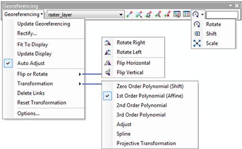 Georeferencing toolbar