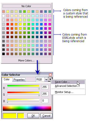 how to create a color table using plot style manager