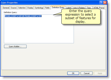 Displaying a subset of features in a layer\u2014Help | ArcGIS Desktop