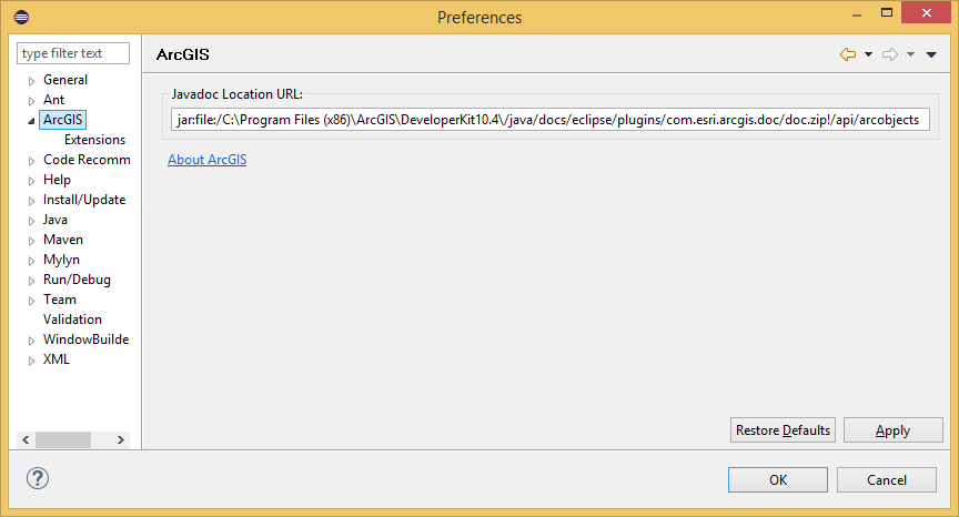 How to access ArcObjects Javadoc in Eclipse IDE—ArcObjects