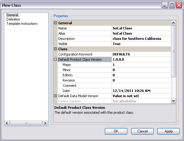 Defining the default product class version in the New Class dialog