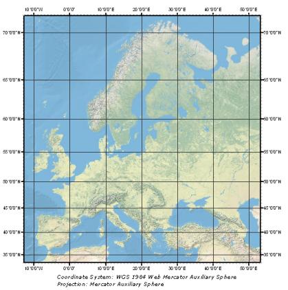 含有经纬网的欧洲地图示例