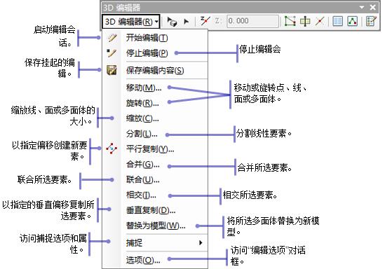 3d 编辑器工具条下拉菜单