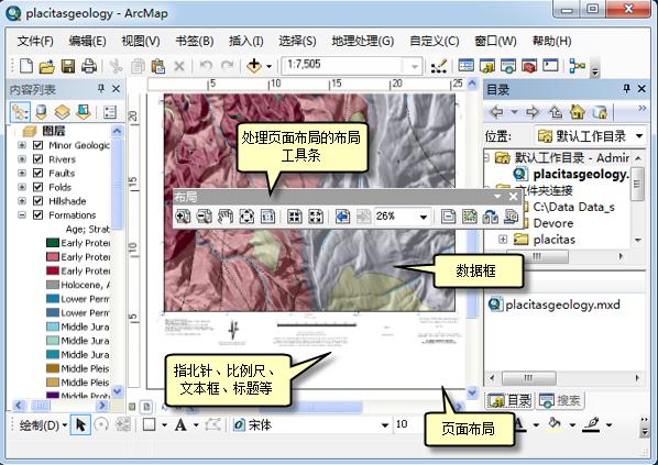 ArcMap 中的布局页面